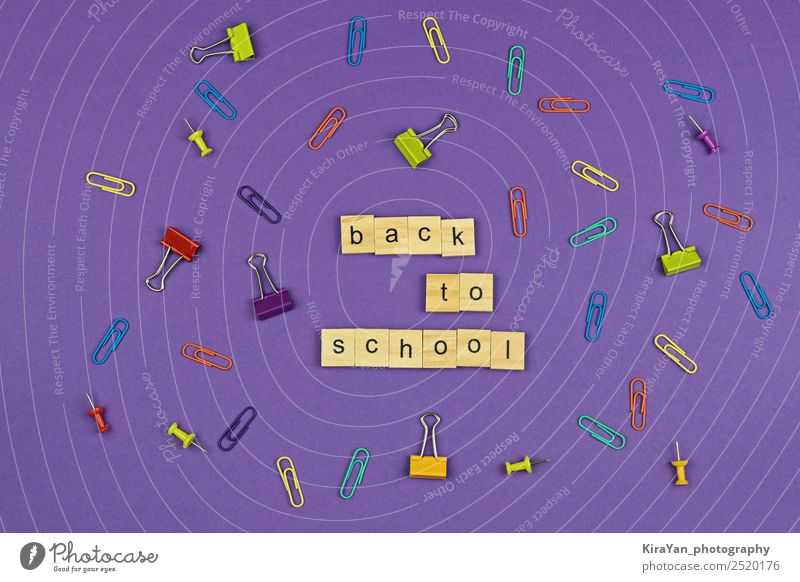 BACK TO SCHOOL text on wooden letters on violet Design Leisure and hobbies Education School Study Office Autumn Accessory Paper Pen Wood Above Creativity