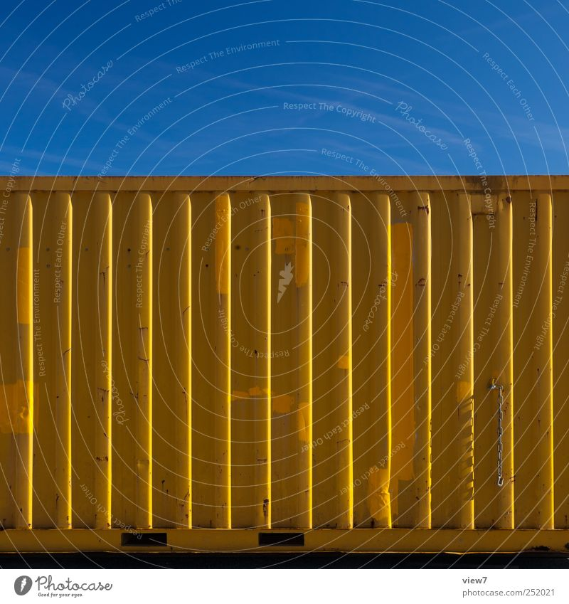 Container yellow Workplace Construction site Industry Logistics Wall (barrier) Wall (building) Facade Metal Line Stripe Old Authentic Simple Modern Yellow