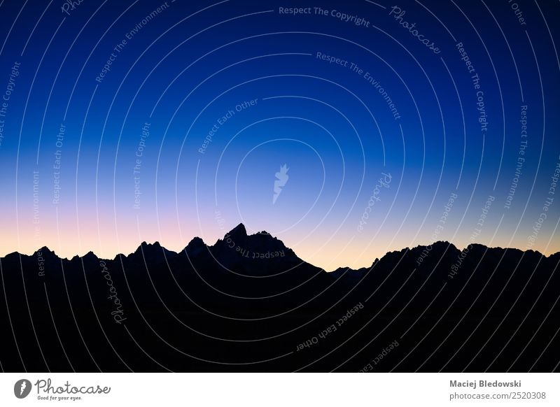 Silhouette of Teton Mountain Range at night, USA. Sky Nature Vacation & Travel Beautiful Landscape Loneliness Calm Far-off places Tourism Freedom Trip Hiking