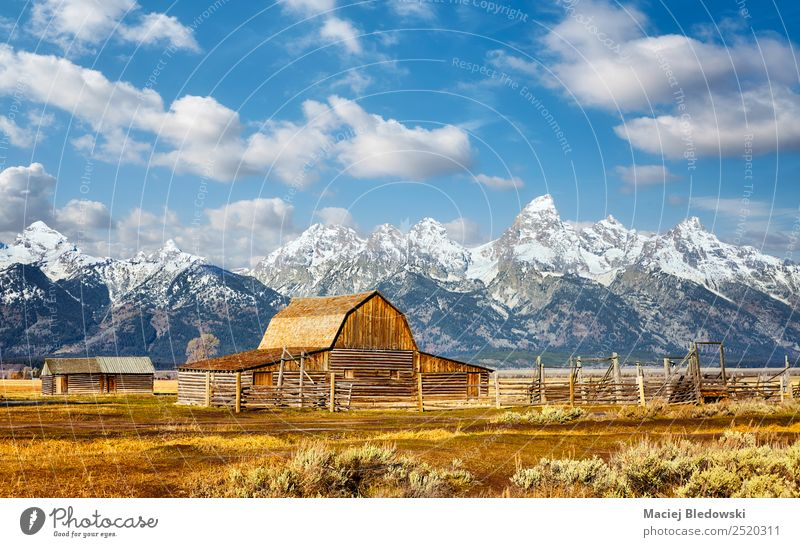 Teton Range with Moulton Barn, Wyoming, USA. Sky Nature Vacation & Travel Landscape Clouds Mountain Autumn Meadow Tourism Freedom Trip Hiking Horizon Field