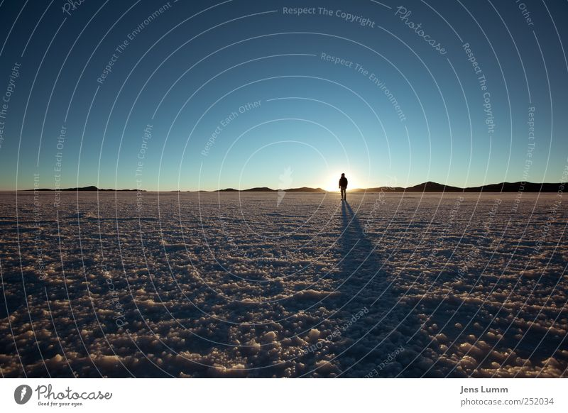 pure morning Masculine Man Adults 1 Human being Landscape Cloudless sky Horizon Sunrise Sunset Sunlight Blue Brown Salar de Uyuni Bolivia Salt Freedom