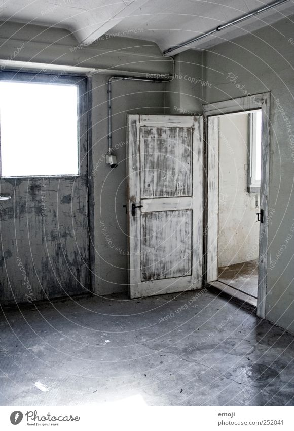 House (Residential Structure) Wall (building) Gray Wall (barrier) Door Open Gloomy Factory Entrance Industrial plant
