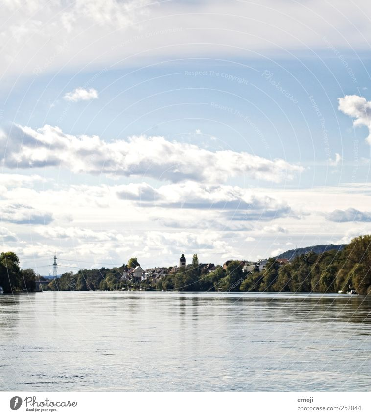 On the Rhine Water Sky Clouds Beautiful weather River Village Outskirts Blue rheinfelden Border Colour photo Exterior shot Deserted Copy Space top