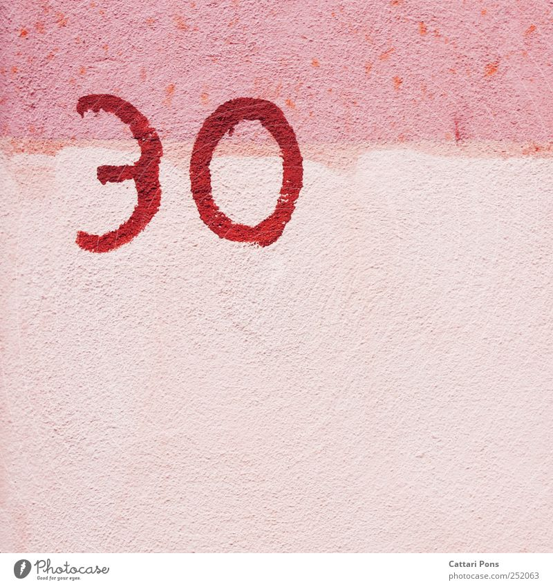 House (Residential Structure) Wall (building) Graffiti Stone Pink Facade Birthday 3 Crazy Cute Digits and numbers Positive 30 Original Jubilee 0