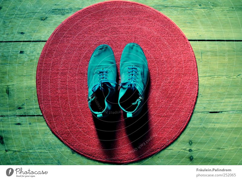 Barefoot II. Shopping Style Flat (apartment) Doormat Footwear Sneakers Wood Round Clean Blue Green Red Shoelace Zipper Turquoise Carpet Parquet floor Hallway