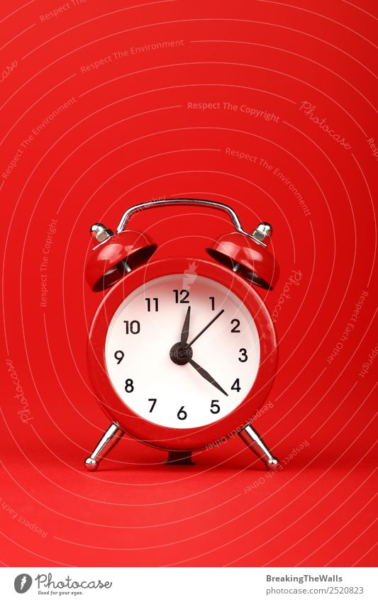 Retro alarm clock with bells over red paper background Clock Technology Paper Toys Old Simple Funny Red Vertical Time Clock face Time clock Alarm clock