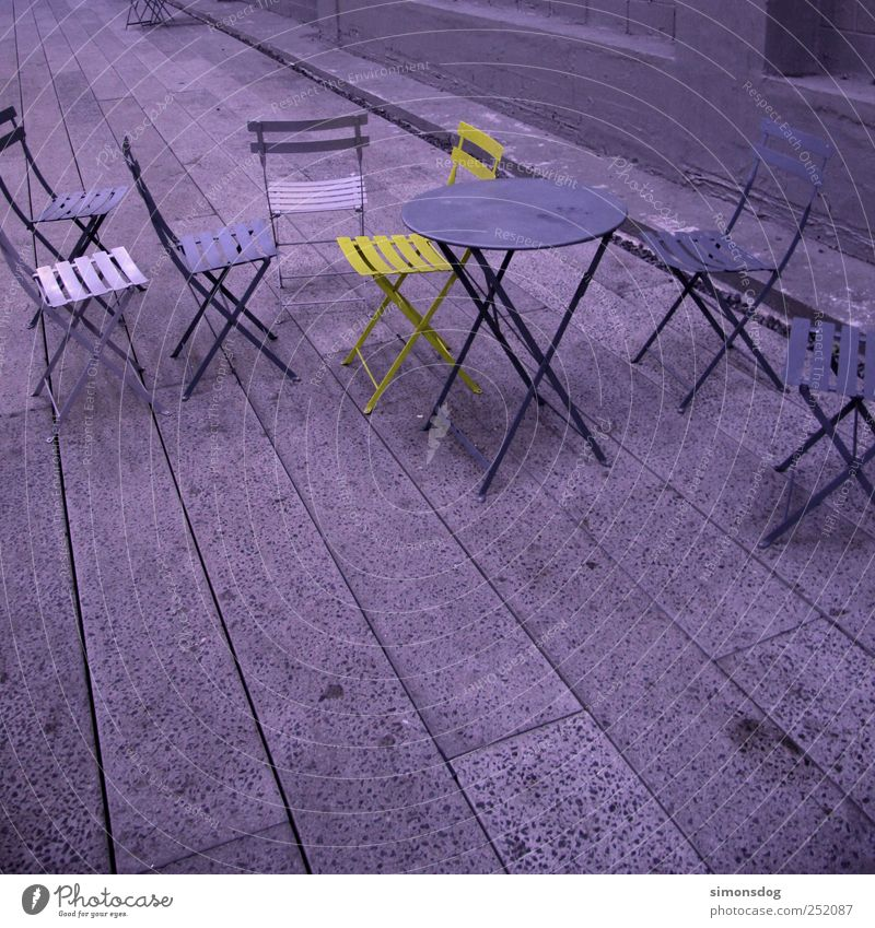 individualist Tunnel Stone Metal Sit Stand Exceptional Uniqueness Cold Violet Hospitality Colour Inspiration Contrast loner Chair Table Paving stone Concrete