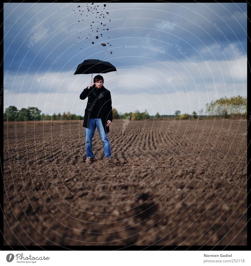 Man Youth (Young adults) Blue Clouds Loneliness Black Adults Sadness Art Field Masculine Grief Umbrella Young man Coat Protection