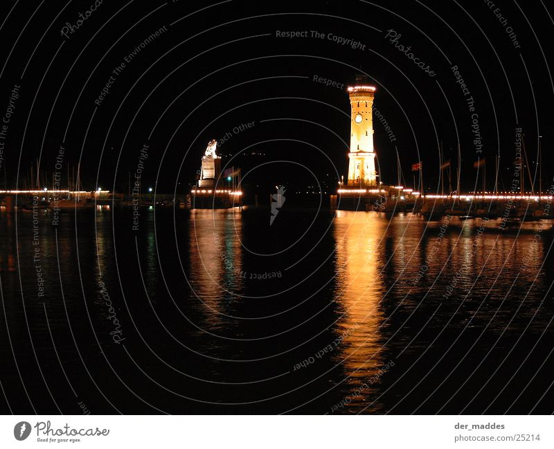 reflexes Lindau Lion Lighthouse Night Reflection Lighting Europe Harbour Island