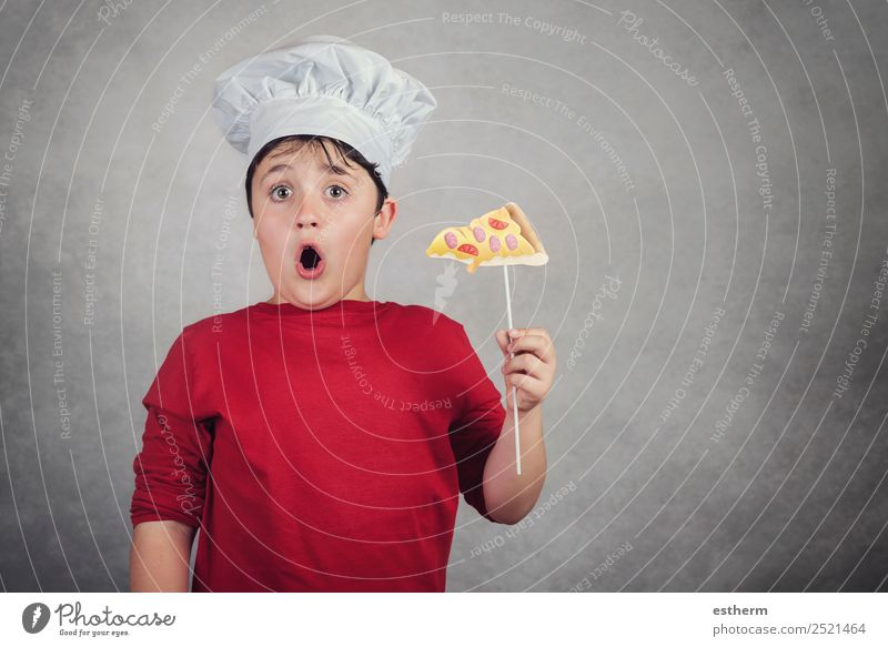 funny child eating a slice of pizza Child Human being Joy Lifestyle Happy Boy (child) Food Business Masculine Nutrition Infancy To enjoy Kitchen Delicious