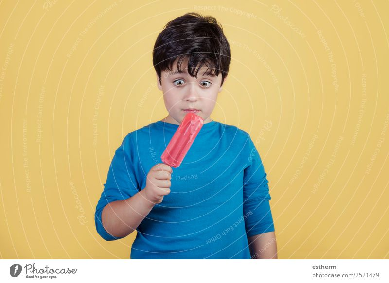 little boy with a strawberry ice cream Child Human being Summer Joy Eating Lifestyle Emotions Boy (child) Fruit Masculine Nutrition Infancy To enjoy Ice cream