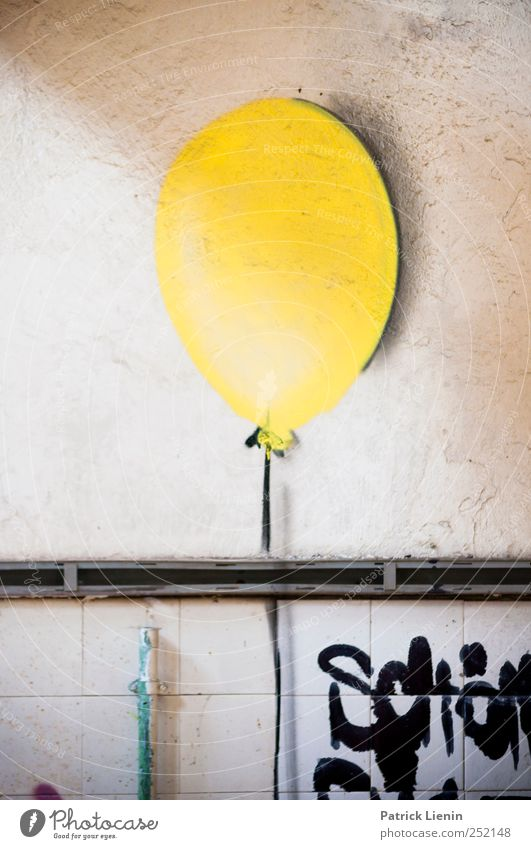 Yellow Wall (building) Graffiti Wall (barrier) Moody Art Fresh High-rise Balloon Factory Artist Industrial plant Work of art Painted Gaudy