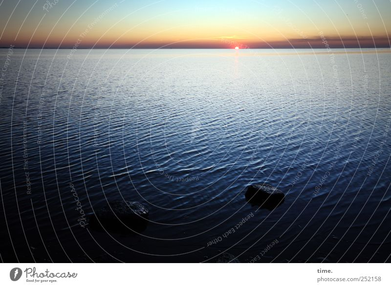 Sky Water Blue Sun Ocean Far-off places Stone Coast Waves Horizon Longing North Sea Dusk North Sea coast