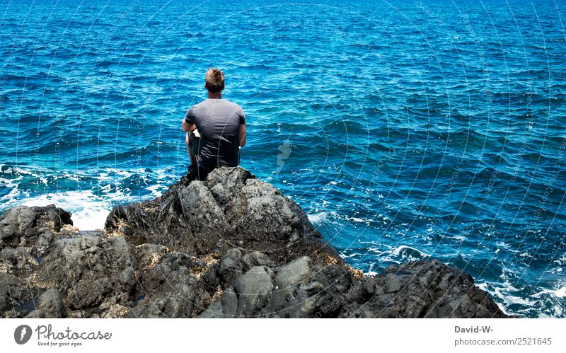 Human being Nature Vacation & Travel Youth (Young adults) Man Summer Young man Ocean Relaxation Calm Far-off places Lifestyle Adults Coast Tourism