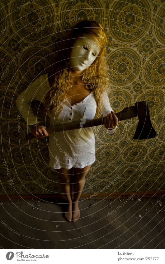 Scary Girl Axe Ruin Dress Mask Long-haired Hunting Playing Stand Aggression Exceptional Threat Blonde Dirty Dark Creepy Trashy Crazy Feminine Anger Yellow Gold