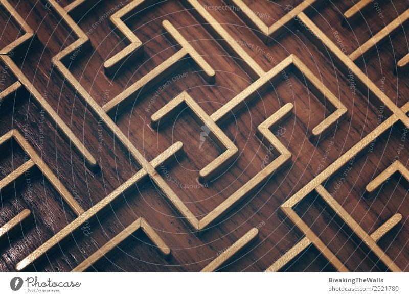 Close up of brown wooden labyrinth maze Leisure and hobbies Playing Toys Wood Dark Brown Complex Competition Creativity Problem solving Planning Labyrinth Maze
