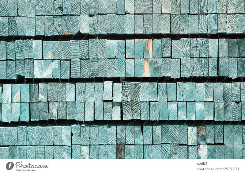 Woodcut-like Wood strip Stack Cut neat and tidy Sharp-edged Simple Together Many Turquoise Edge Arrangement Identical Equal Practical Square timber Direct