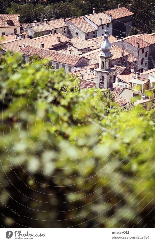 Weinsdorf. Environment Climate Esthetic Vine Vineyard Grape harvest Wine growing Village Italy Italian Slope Steep Mountain village Vacation destination Roof