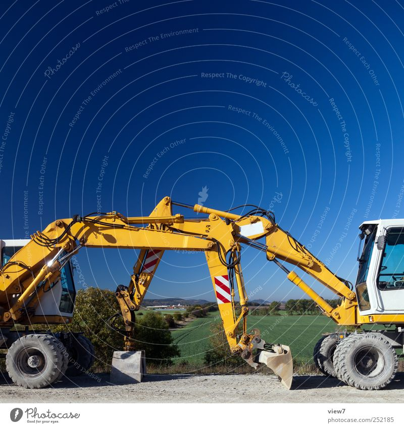 excavator Construction site Closing time Nature Cloudless sky Climate Beautiful weather Means of transport Traffic infrastructure Vehicle Authentic Simple Fresh