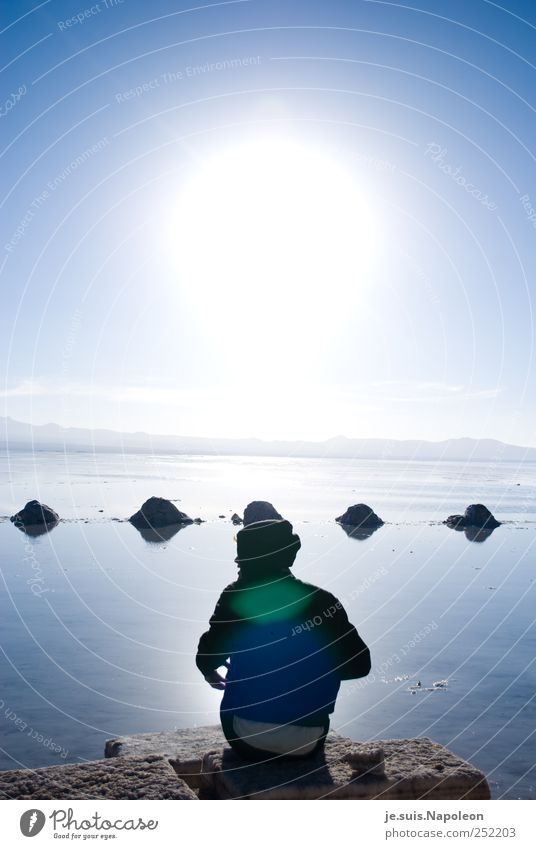 Human being Sky Water Blue White Sun Adults Far-off places Landscape Freedom Head Movement Lake Earth Sit Masculine