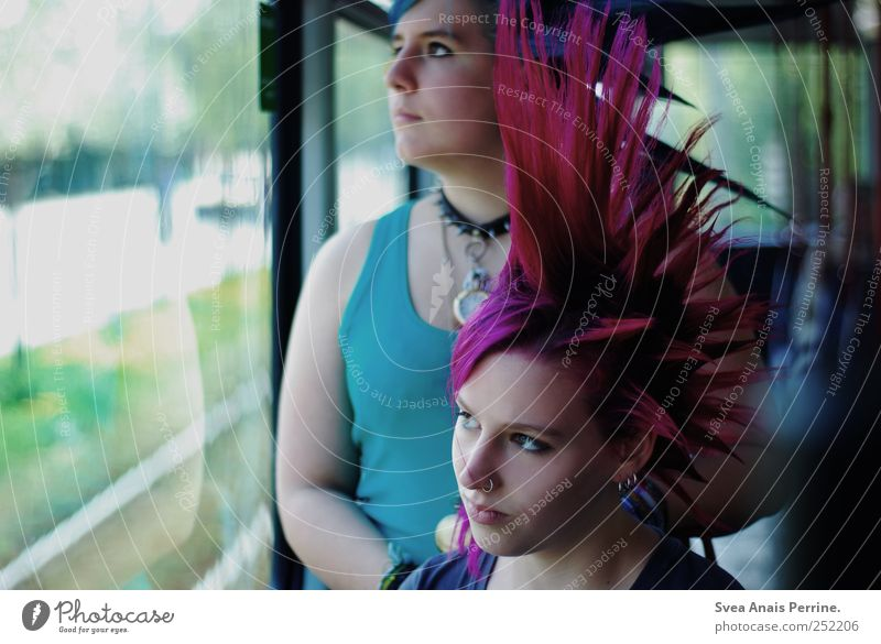 Human being Youth (Young adults) Adults Face Feminine Hair and hairstyles Wild Exceptional 18 - 30 years Meditative Young woman Bus Punk Passenger traffic