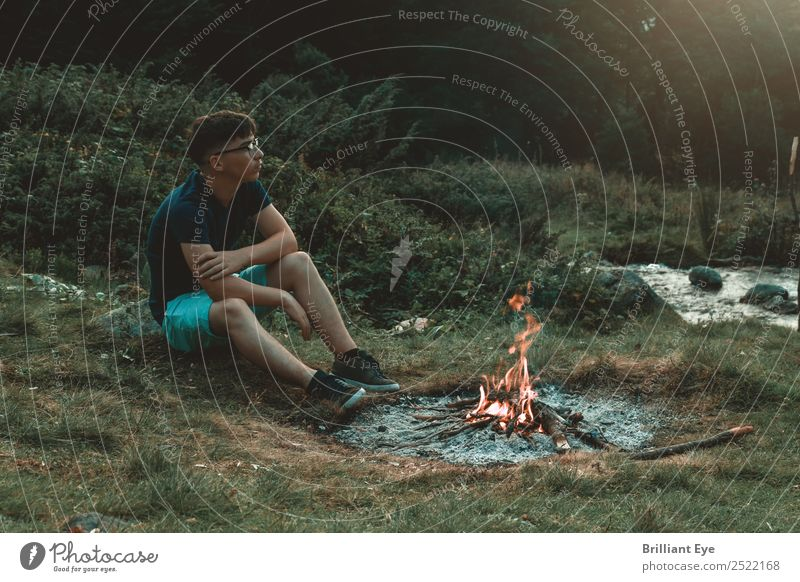 campfire atmosphere Lifestyle Vacation & Travel Adventure Camping Summer Mountain Human being Masculine 1 13 - 18 years Youth (Young adults) Nature Fire Field