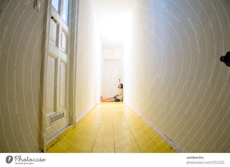 hallway Living or residing Flat (apartment) Human being Masculine Adults 45 - 60 years Sit Wait Dark End Bathroom Narrow Hallway Corridor Room wallroth