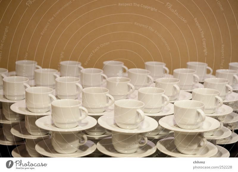 All cups in the cupboard Coffee Tea Gastronomy Waiter Hotelier Services Cup Saucer Glittering Brown White Arrangement Stack Roadhouse Café Many Carry handle