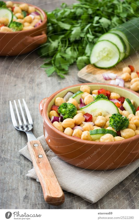 Chickpea salad Chickpeas Salad Food Healthy Eating Dish Food photograph Vegetable Nutrition Lunch Vegetarian diet Diet Wood Fresh White Cucumber Onion Broccoli