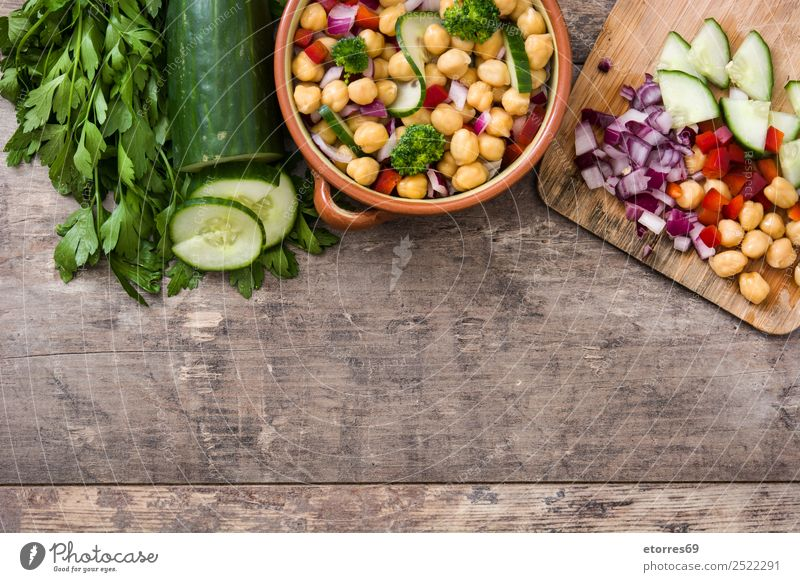 Chickpea salad isolated on wood Food Vegetable Nutrition Lunch Vegetarian diet Diet Healthy Healthy Eating Wood Fresh White Chickpeas Salad Cucumber Onion