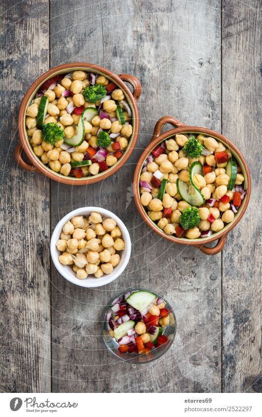 Chickpea salad in bowl on wooden background Food Vegetable Nutrition Lunch Vegetarian diet Diet Bowl Healthy Healthy Eating Wood Fresh White champagne Chickpeas