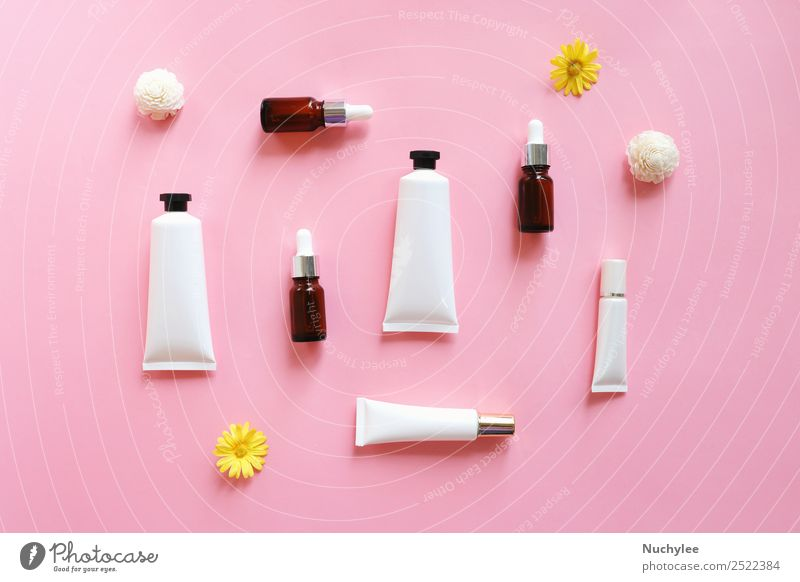 Flat lay of various organic skincare products Nature Plant Flower Leaf Face Natural Pink Body Fresh Skin Beauty Photography Medication Cosmetics Cream Bottle