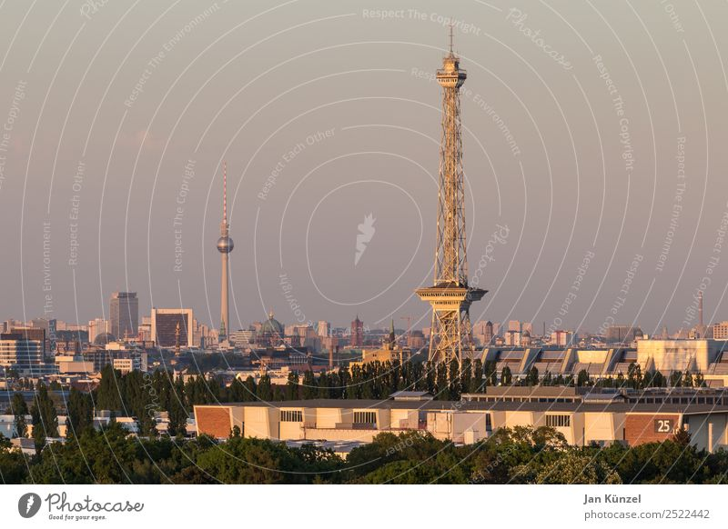 The two towers Tourism Trip City trip Summer Landscape Sky Sunrise Sunset Beautiful weather Berlin Berlin TV Tower Grunewald Berlin Messeturm Town Capital city
