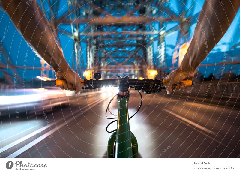 cyclist's perspective Lifestyle Cycling Bicycle Man Adults Arm Hand 1 Human being Dresden Bridge Tourist Attraction Transport Means of transport