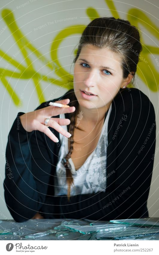 Woman Human being Youth (Young adults) Beautiful Adults Feminine Graffiti Head Style Think Elegant Lifestyle Smoking Observe 18 - 30 years Young woman