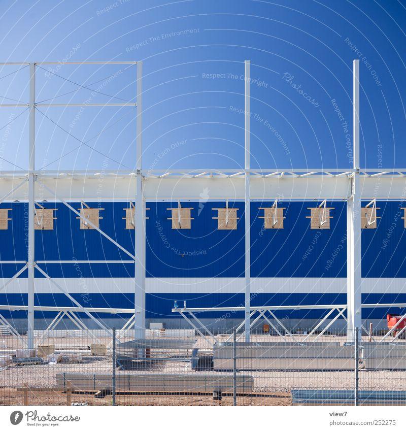 Blue House (Residential Structure) Wall (building) Architecture Wall (barrier) Building Metal Line Work and employment Facade Arrangement Beginning Fresh Modern