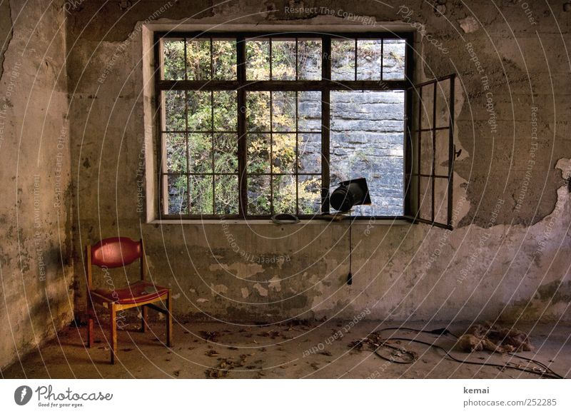Old Red Loneliness House (Residential Structure) Wall (building) Window Wall (barrier) Building Lamp Open Interior design Empty Broken Gloomy Cable Chair