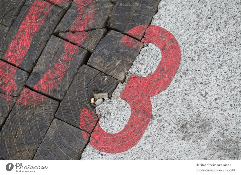 03 Industrial plant Factory Wall (barrier) Wall (building) Floor covering Concrete Wood Sign Digits and numbers Red Past Transience Dye Varnish sprayed