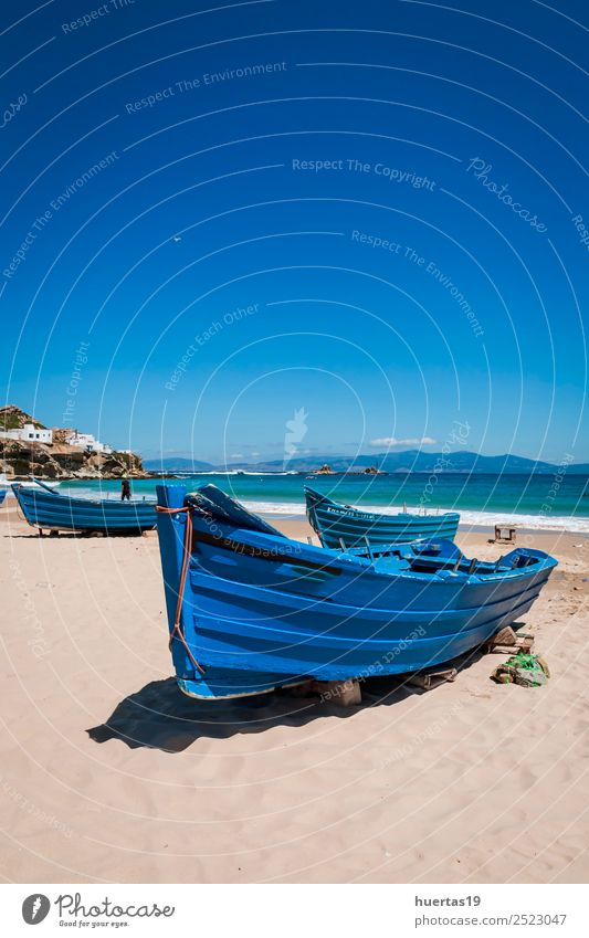 Boat on the beach Relaxation Vacation & Travel Tourism Beach Ocean Sports Environment Nature Landscape Sand Coast Transport Navigation Fishing boat Watercraft