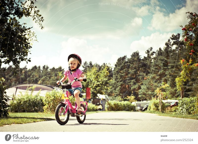 From the post Summer Cycling Bicycle Human being Child Toddler Girl Infancy 1 3 - 8 years Environment Nature Sky Beautiful weather Traffic infrastructure