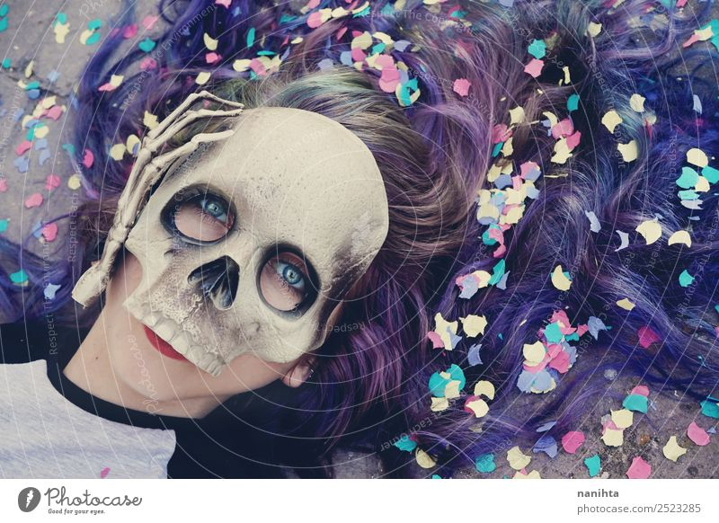Young woman wearing a skull mask Style Design Exotic Hair and hairstyles Party Feasts & Celebrations Carnival Hallowe'en Human being Feminine