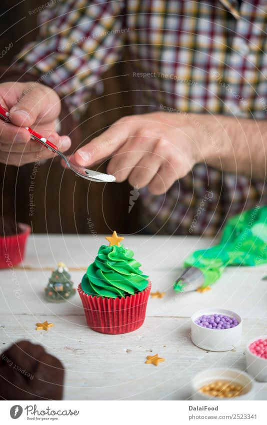 Making cupcake for Christmas time Baking Cake Candy Feasts & Celebrations Christmas & Advent Cup Cupcake Decoration Dessert Festive Food Frost Gift Green Home