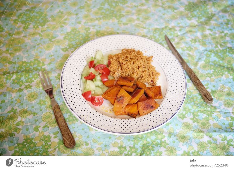 Healthy Eating Food Nutrition Vegetable Delicious Organic produce Plate Lunch Tablecloth Tomato Lettuce Vegetarian diet Cutlery Salad Pumpkin