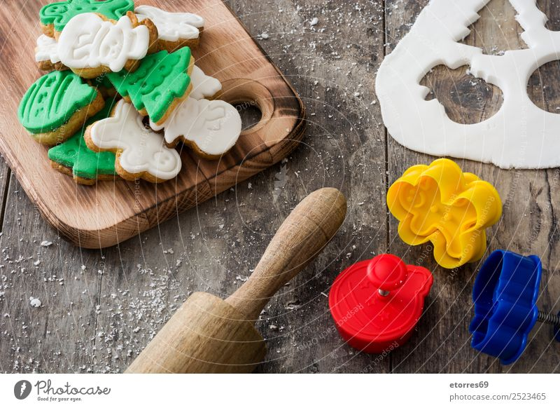 Christmas cookies on wooden background Cookie Christmas & Advent Decoration Food Healthy Eating Dish Food photograph Dessert December Feasts & Celebrations