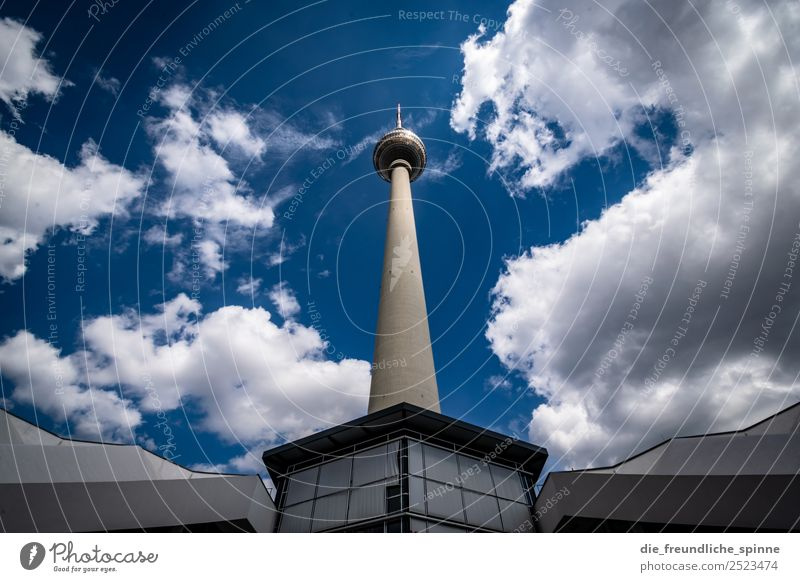 Hans looks in the air Work of art Architecture Sky Summer Berlin Germany Europe Town Capital city Deserted Tourist Attraction Landmark Television tower