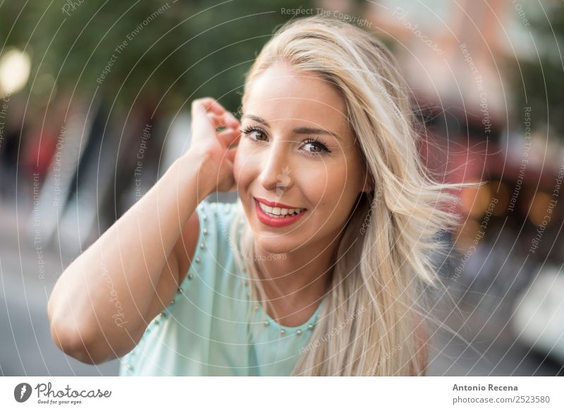 Blonde woman looking you Lifestyle Happy Beautiful Human being Woman Adults 1 18 - 30 years Youth (Young adults) Touch Smiling Eroticism Tree of knowledge