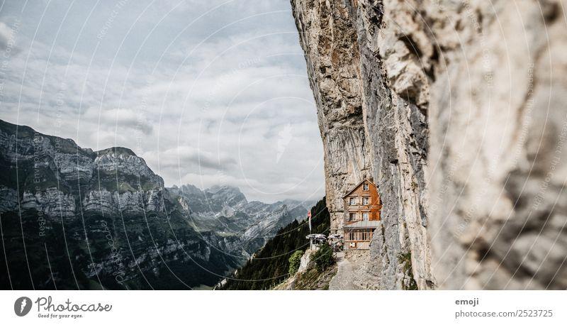 Aescher-Wildkirchli Environment Nature Sky Summer Beautiful weather Rock Alps Mountain Hut Tourist Attraction Exceptional Famousness asher wildkirchli
