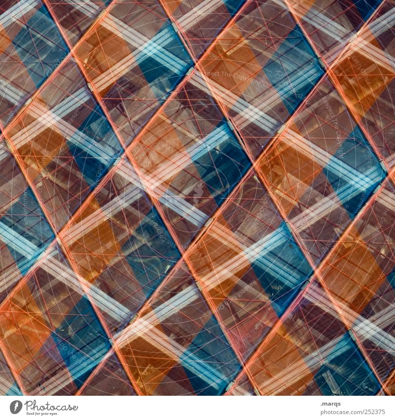 square Style Design Construction site Scaffold Line Stripe Exceptional Hip & trendy Blue Red Perspective Symmetry Checkered Double exposure Colour photo