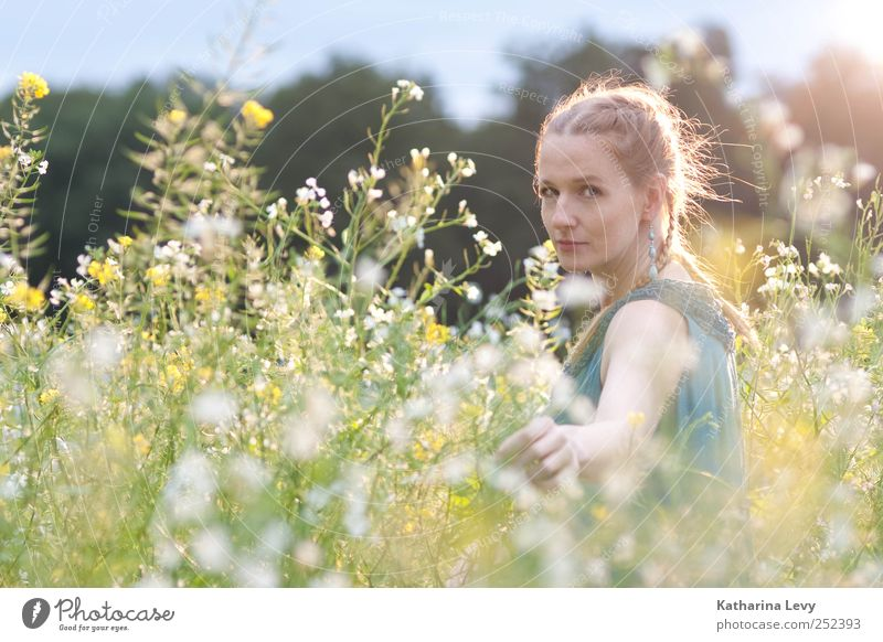 Human being Woman Hand Vacation & Travel Plant Flower Adults Meadow Feminine Head Healthy Blonde Field Climate Arm Trip