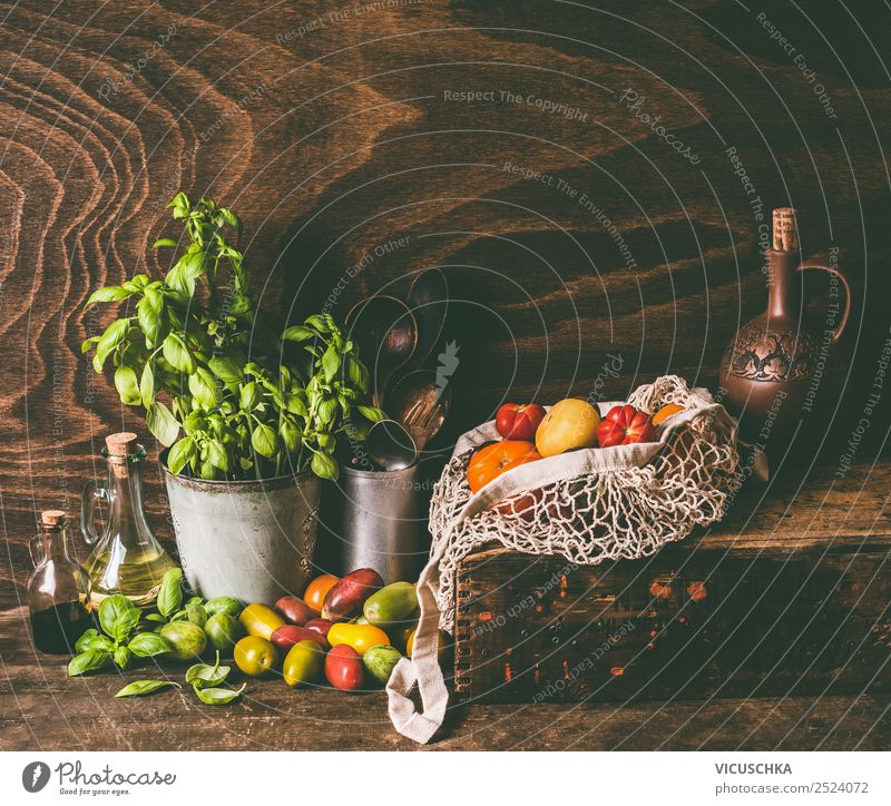 Still life with colorful tomatoes Food Vegetable Herbs and spices Nutrition Organic produce Vegetarian diet Crockery Shopping Style Healthy Eating